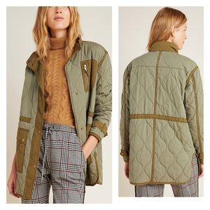 Anthropologie Quilted Liner Jacket Olive Small